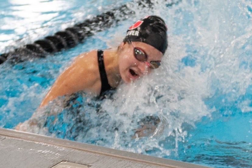Emma Glover makes a turn at the Cheshire Community Pool. Photo courtesy of Gale Glover.