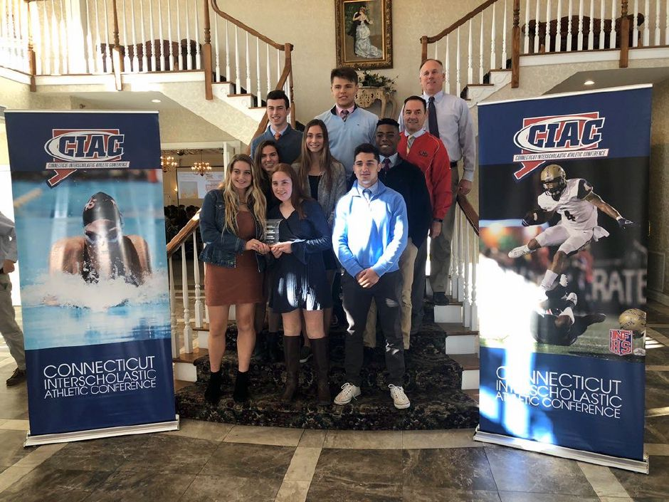 On Thursday, CHS representatives attended the CIAC Sportsmanship Conference at the Aqua Turf Club in Plantsville. Pictured from left, front row: Ava Pulisciano, Meghan Moran, Alec Frione. Middle row (from left): Christine Anthony, Sophie Murphy, Chisom Okoro. Back row (from left): Jack Hickey, Cole Feinauer, Athletic Director Steve Trifone, Coach and Physical Education Teacher Dan Lee.