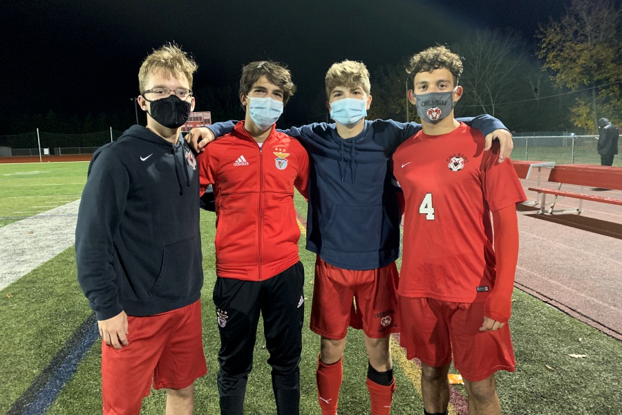From left, Cheshire soccer players Austin Goldberg, Clement Pez, Murphy Malone, and EJ Gonzalez provided the scoring against North Haven. Photo taken by Greg Lederer/Cheshire Herald.