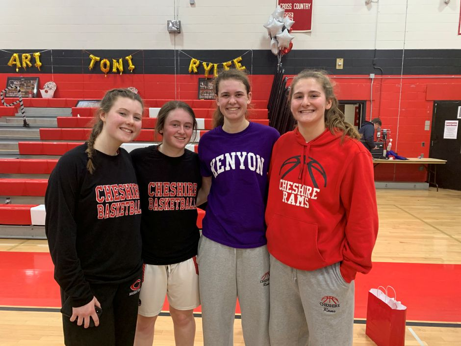 From left, seniors Toni Wetmore, Ari Perlini, Emma Watkinson, and Rylee Post came away victorious in their final home game for CHS girls