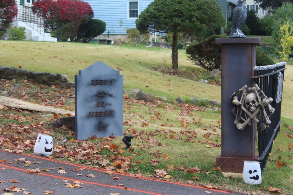 "Mariah Melendez/Cheshire Herald- Tombstone reads ""Keep 6' Or Sleep 6'"" to encourage visitors to stay socially distant when visiting the Avon Boulevard Cemetery. Made by Patrick Woodward"