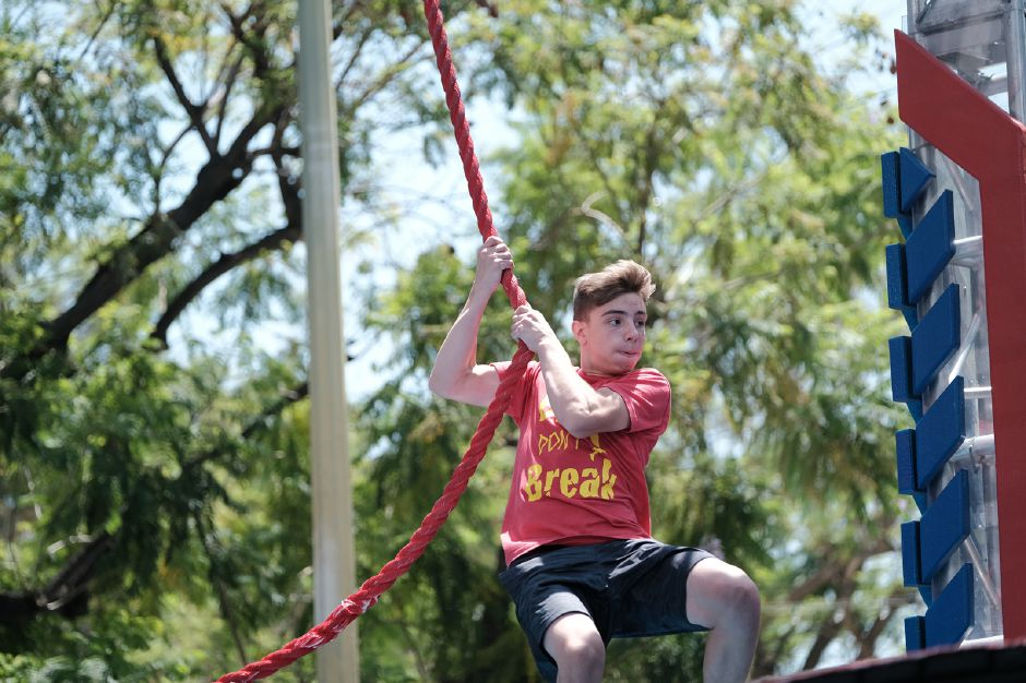 Blake Feero swings on a rope during an episode of American Ninja Warrior Junior. Photo courtesy of ANW.