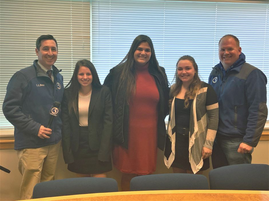 Submitted photo - Pictured, from left: WFSB-Ch. 3 reporter Matt McFarland, Cheshire High students Carly Misiewicz, Carley Kurtz and Sophie Braylyan, and WFSB videographer Corey Peck.