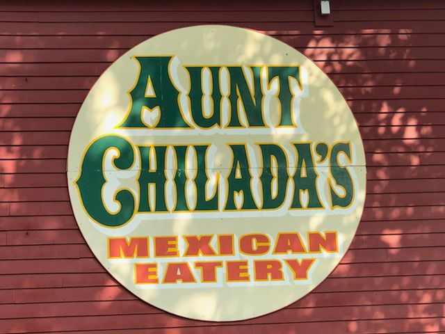 The colorful sign for  Aunt Chilada