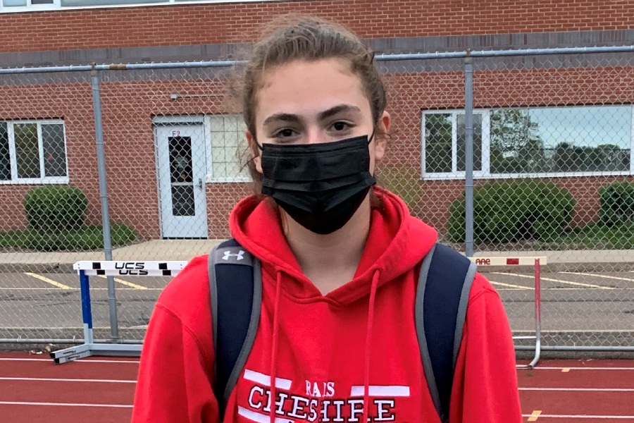 Cheshire lacrosse player Ava Harris earned her first hat trick and added an assist at Branford. Photo taken by Greg Lederer/Cheshire Herald.