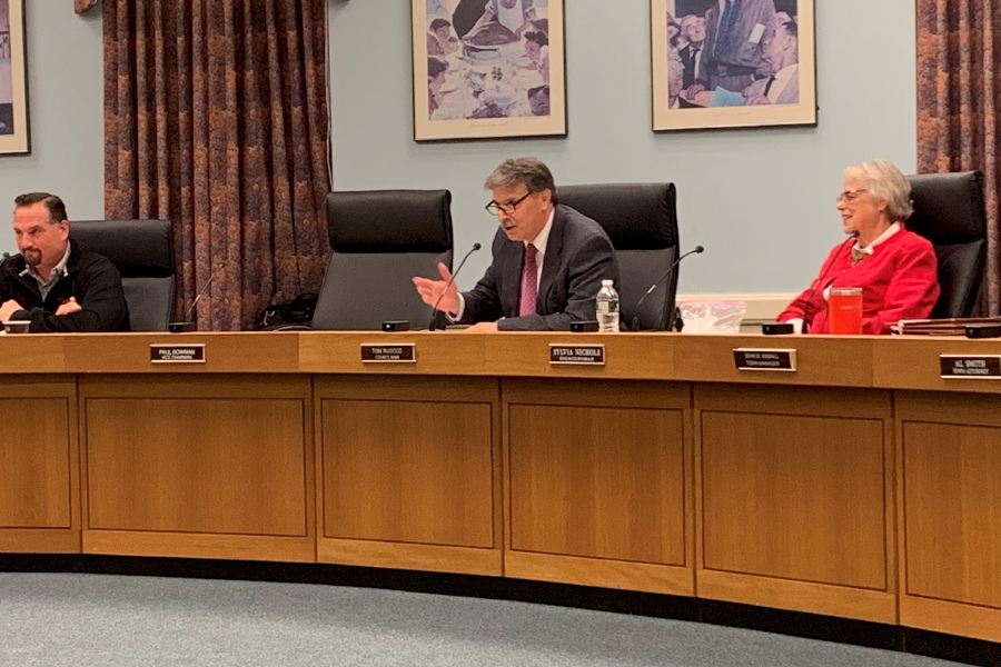 Mariah Melendez/Cheshire Herald – Tom Ruocco (center) delivered his farewell to Cheshire and second district during a Tuesday evening Council meeting.