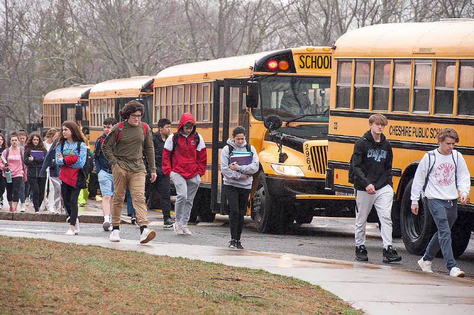 Al Valerio/Cheshire Herald - On Friday, March 13, students at Cheshire High School were dismissed early from classes. It had been announced prior to then that local school buildings will be closed for at least the next two weeks.