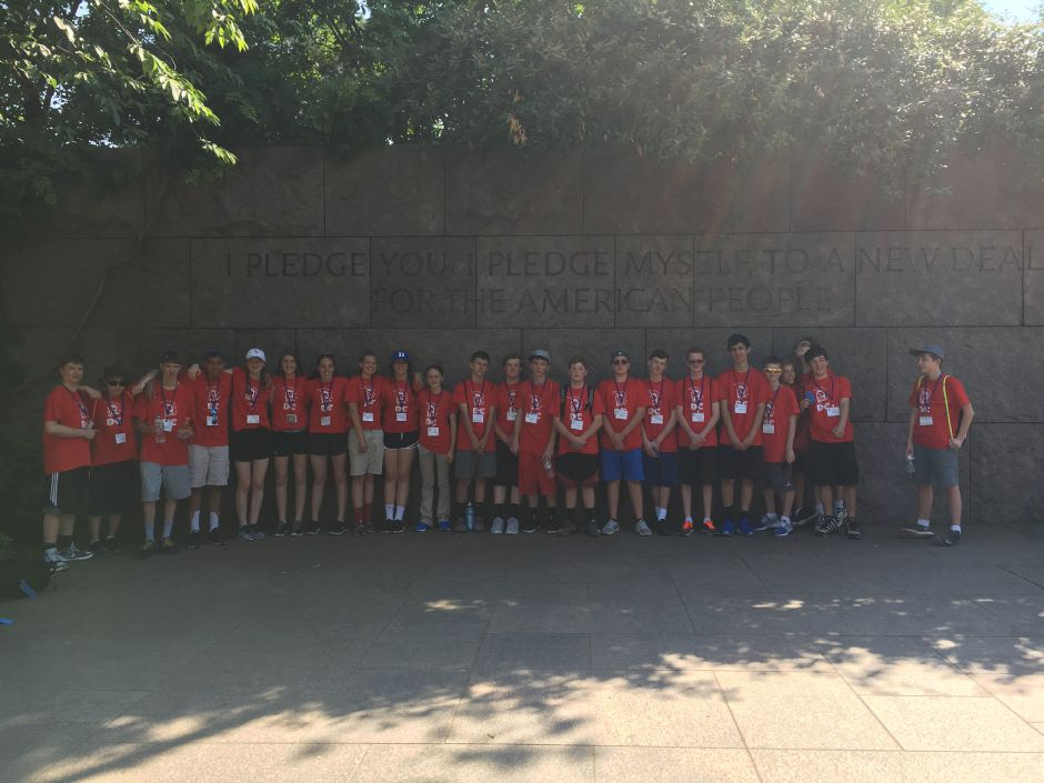 Photo courtesy of Dodd Middle School – Dodd Middle School eighth grade class poses in front of the President Franklin Delano Roosevelt Memorial in Washington D.C. during a recent trip.