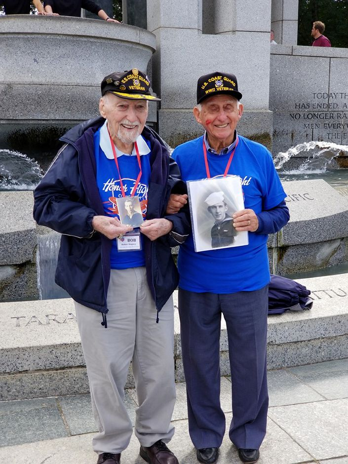 Submitted photo – Robert Hughey (left) poses with another WWII veteran.