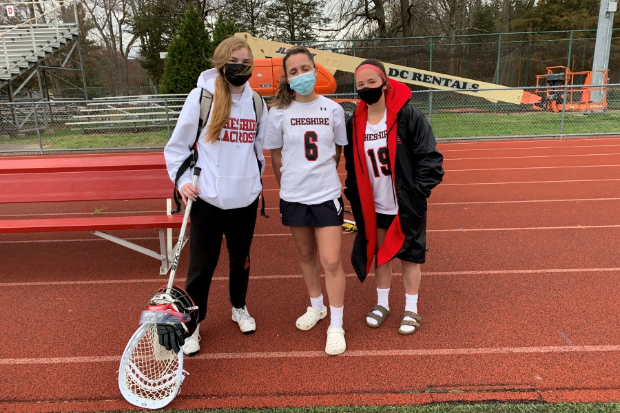 From left, Audrey Bronson, Taylor Warburton, and Lauren Samela contributed to Cheshire girls
