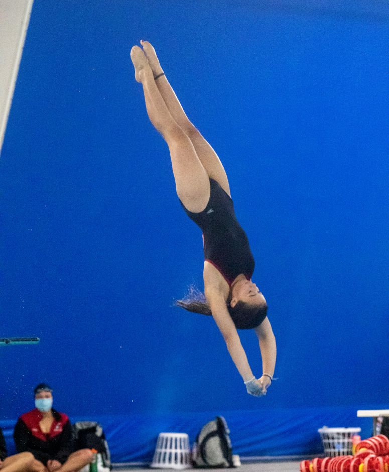 Natalie DeMatteo earned first place in the one-meter dive. Photo taken by Aaron Flaum/Record-Journal.