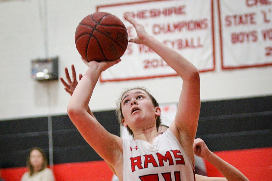 On Senior Night, CHS basketball player Emma Watkinson scored 15 of her game-high 17 points after halftime. Photo taken by James Brandolini/Cheshire Herald.