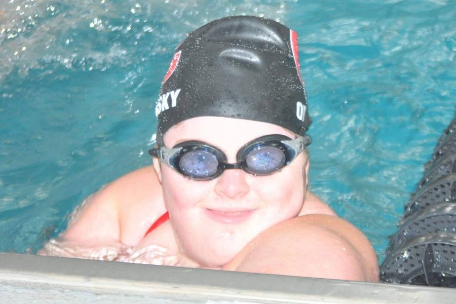 CHS freshman swimmer Sarah Orlinsky flashes a smile in the pool. Submitted photo.