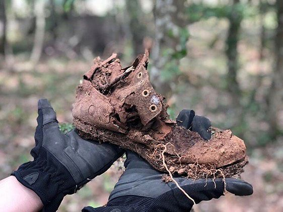 Photos courtesy of CT in World War I – This shoe from a WWI soldier was found while students were excavating a trench near the town of Beaumont, Lorraine, France.