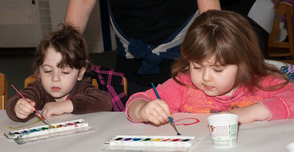 James Brandolini/Cheshire Herald - Summer and Bailey Vitanza were hard at work on a special craft at the 2019 ARTSDAY celebration, presented by Artsplace and held at Cheshire Academy.