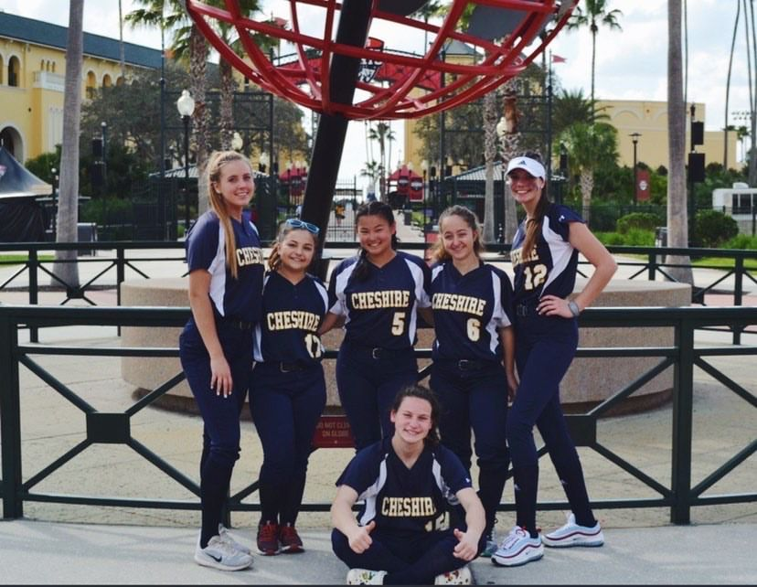 CA softball players have chemistry in the outfield. Jordan Shanok is sitting in the picture. Back row (from left): Kiley Cristman, Amelia Lanni, Lily Storer, Kylie Riccio, Jordan Chamberlin. Submitted photo.
