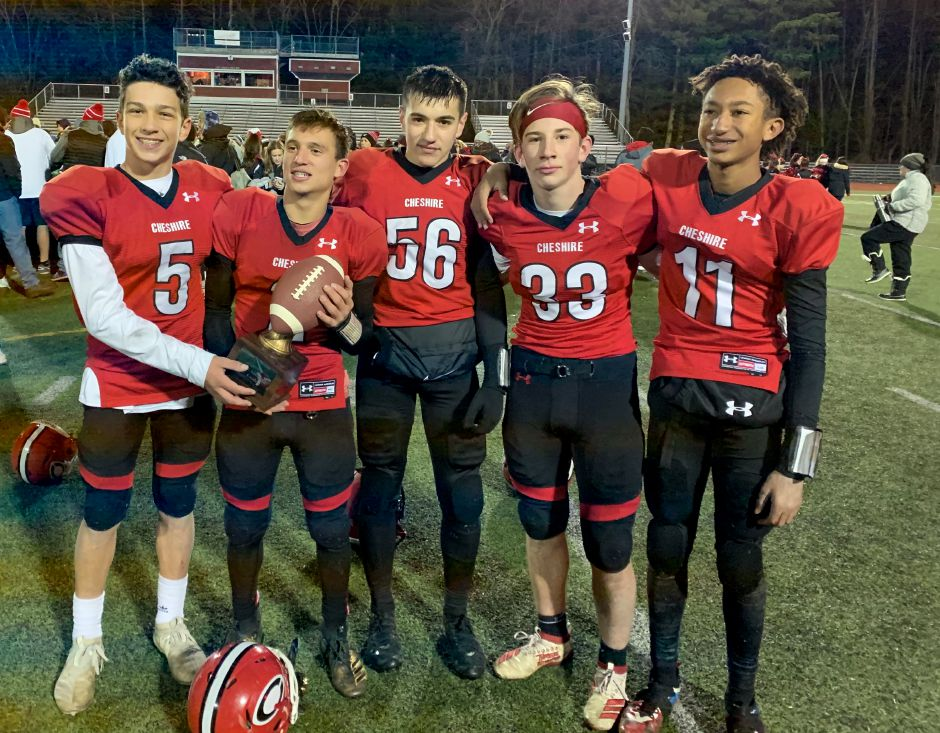 From left, Matt Jeffery, Jeffery Gonzalez, Evan Russo, Adam Vernon, and Michael Pangaro helped CJF eighth grade win their fifth SYFC title at CHS. Photo taken by Greg Lederer/Cheshire Herald.