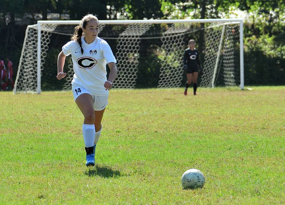 CHS junior soccer player Kristen Daddi controls the ball down the field. Photo courtesy of Chris Daddi.