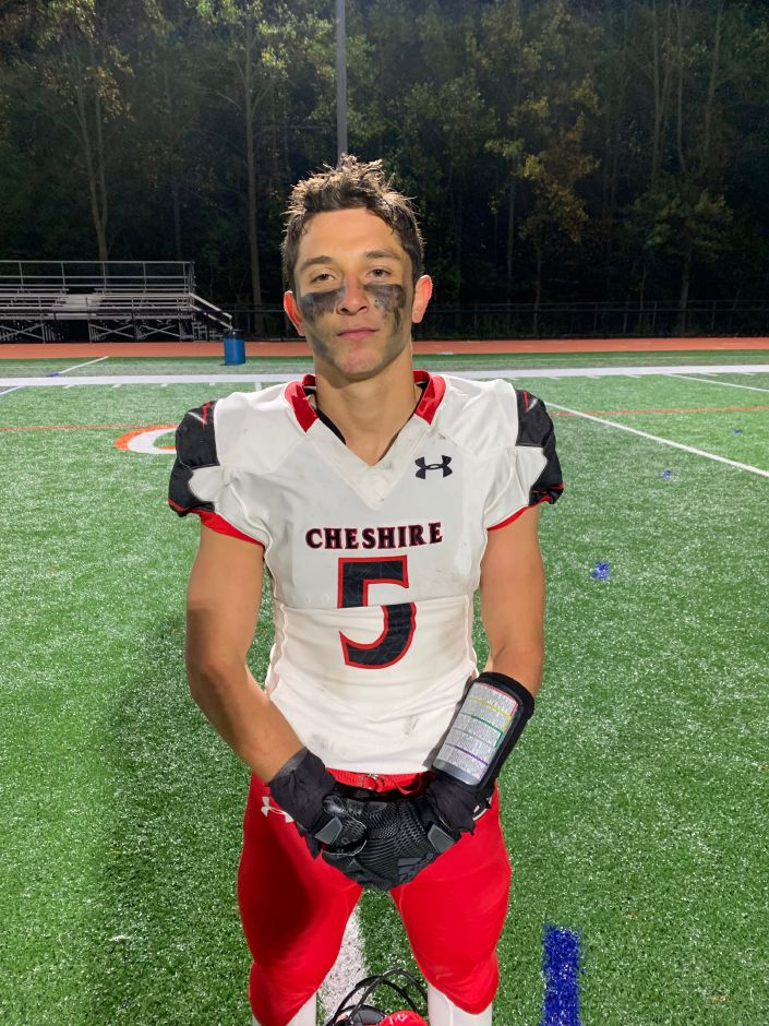 Senior wide receiver/defensive back Alec Frione found the end zone on a reception and an interception in the third quarter at Shelton. Photo taken by Greg Lederer/Cheshire Herald.