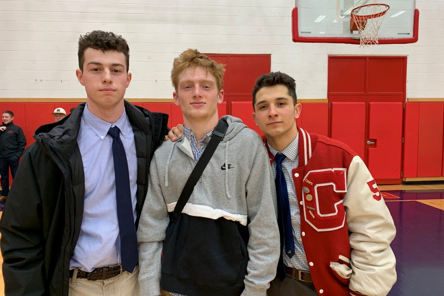 From left, seniors Jack Hickey, Colby Griffin, and Alec Frione combined for 43 points to lead CHS boys