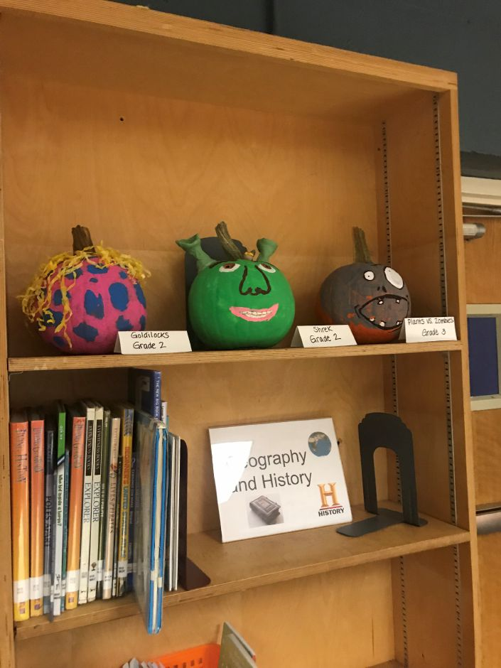 Decorated pumpkins by Chapman students 2019.