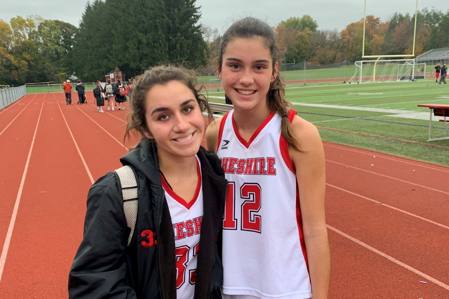 From left, CHS field hockey senior Olivia Salamone and sophomore Lauren Houle both had a goal and an assist against Lauralton Hall. Photo taken by Greg Lederer/Cheshire Herald.