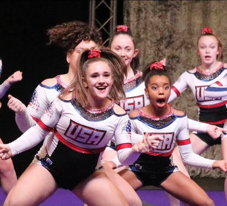 Cheshire cheerleader Caroline Villecco performs up front for USA Wildcats. Photo courtesy of Lauren Villecco.