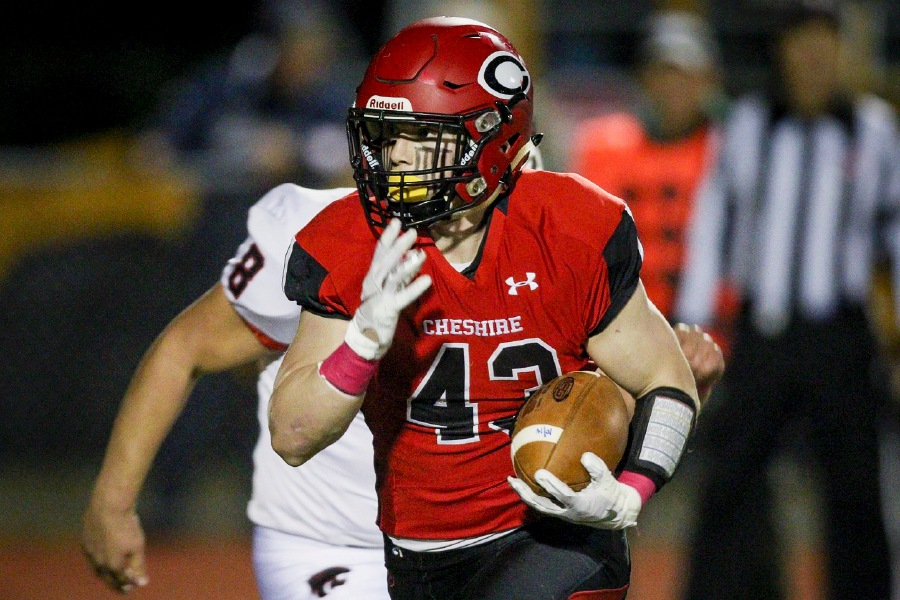 Jake McAlinden ran for four touchdowns against Masuk. Photo taken by James Brandolini/Cheshire Herald.
