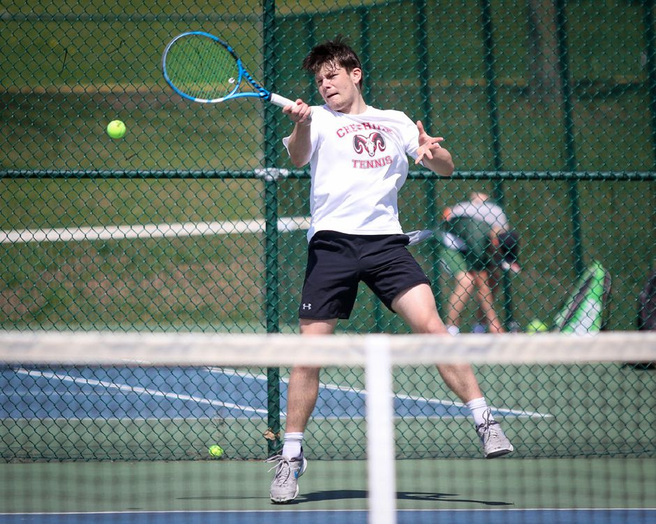 Boys' tennis captain Yasha Laskin opened his senior season with a 6-0, 6-0 victory. Photo taken by James Brandolini/Cheshire Herald.