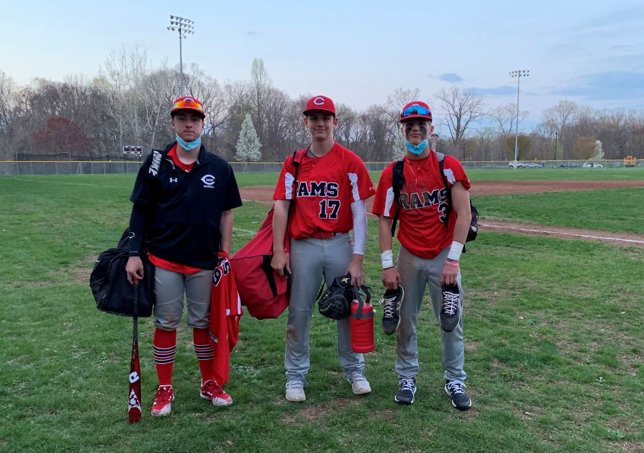 From left, Ryan Scialabba, Ian Wirtz, and EJ Quint contributed eight RBIs total for CHS baseball on Monday. Photo taken by Greg Lederer/Cheshire Herald.
