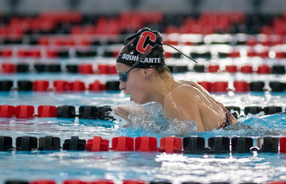 Sophomore Vanessa Squillante surges forward in the 200-yard IM. Photo taken by Aaron Flaum/Record-Journal.