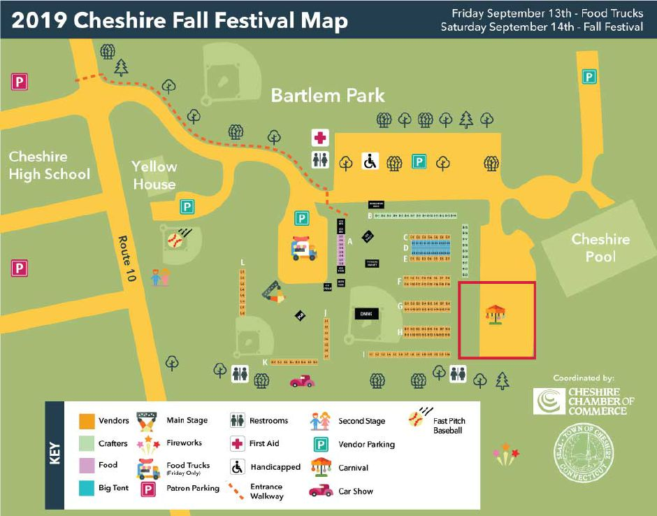 A map of this year's Cheshire Chamber of Commerce Fall Festival & Marketplace