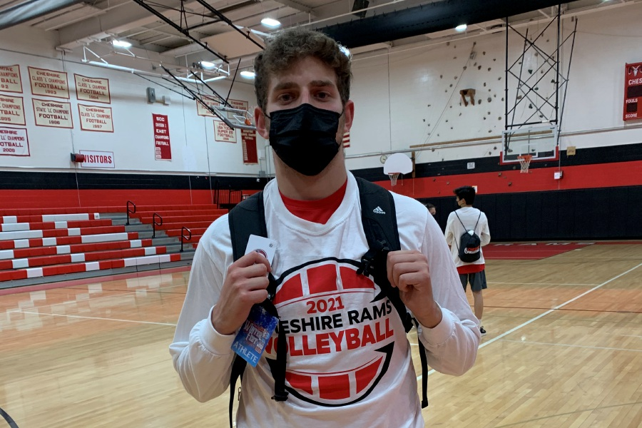 Cheshire boys' volleyball senior co-captain Jeremy Alliger has become a hitting leader this spring. Photo taken by Greg Lederer/Cheshire Herald.