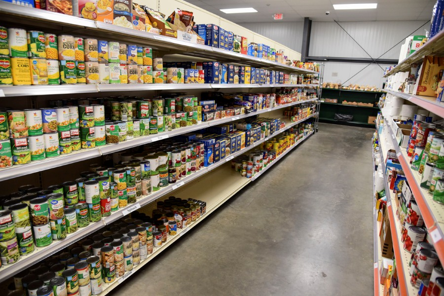 Bailey Wright/Record-Journal – Food items line several aisles in the Cheshire Food Pantry, 175 Sandbank Rd.