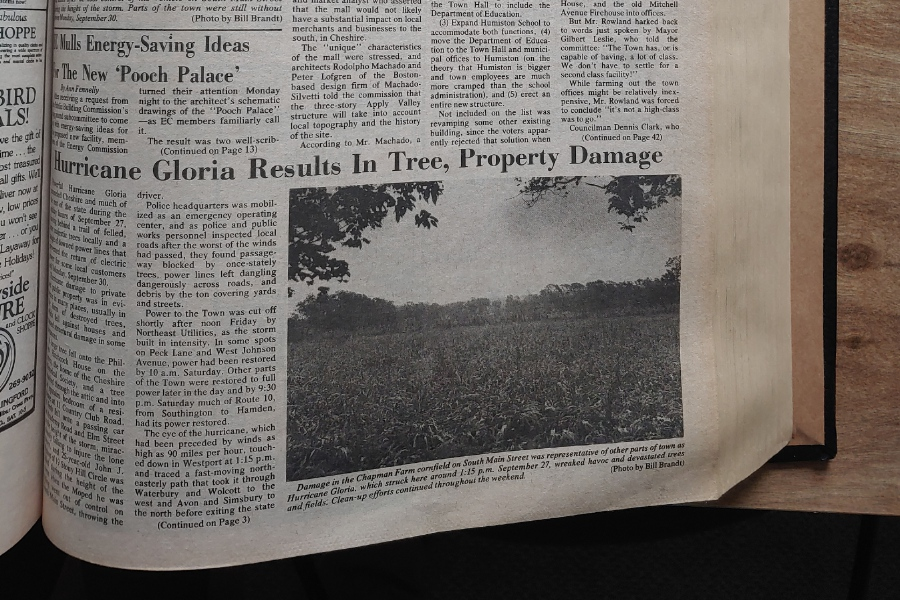 File photo - The Oct. 3, 1985 edition of The Cheshire Herald was filled with photos depicted the aftermath of Hurricane Gloria, the most powerful such storm to hit Connecticut since 1960.