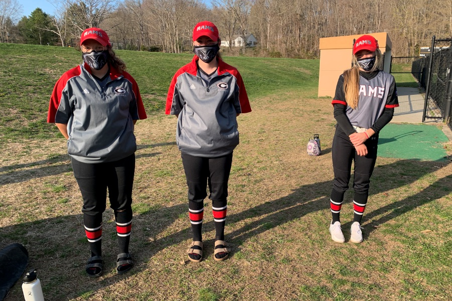 From left, Trinadey Santiago, Bri Pearson, and Grace Lurz helped Cheshire softball earn a 16-1 win at Daniel Hand. Photo taken by Greg Lederer/Cheshire Herald.