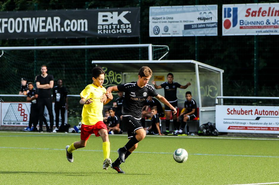 Marcello Pannone controls the ball against a German player. Submitted photo.