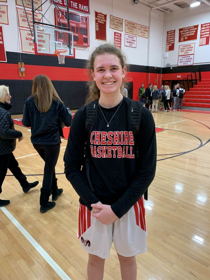 Emma Watkinson led CHS girls' basketball with 13 points against host Lyman Hall. Photo taken by Greg Lederer/Cheshire Herald.