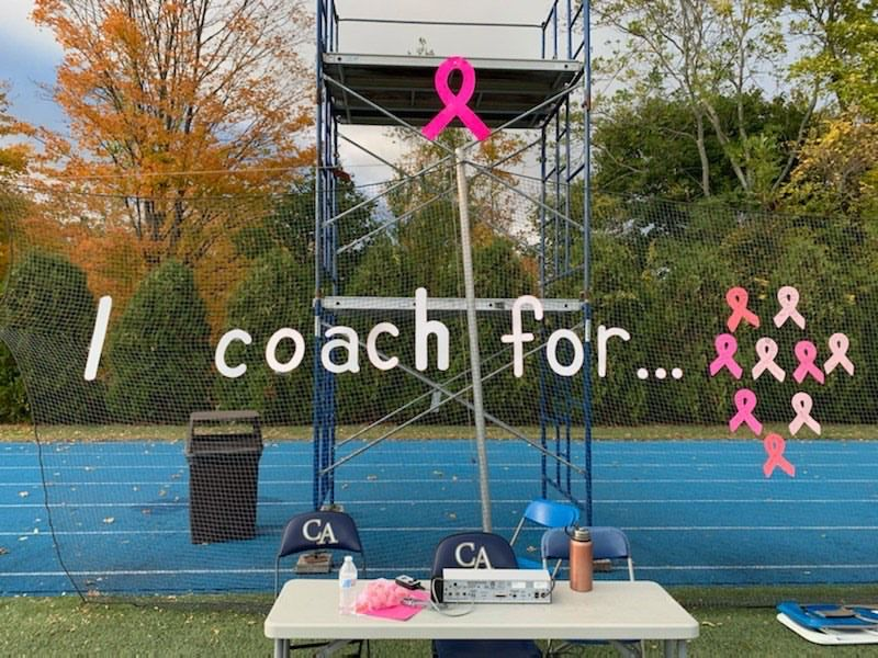 Cheshire Academy field hockey coaches had a chance to dedicate their Pink Game to an individual and/or feeling. Photo courtesy of Riley Norwood.