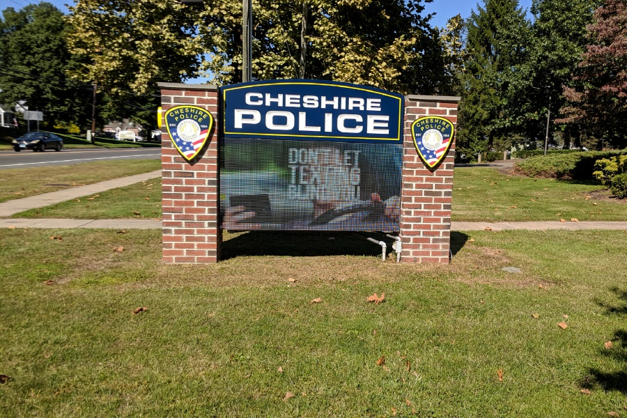 File photo – Cheshire Police Department sign.