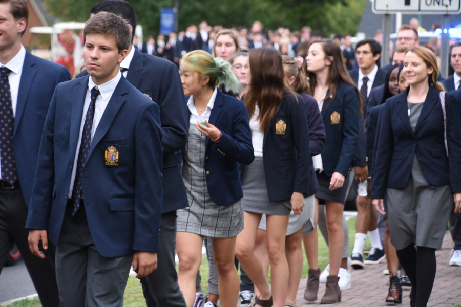 Photo courtesy of Cheshire Academy – Students walked from the Cheshire Academy to St. Bridget Church on Thursday, Sept. 5, for Convocation ceremonies.