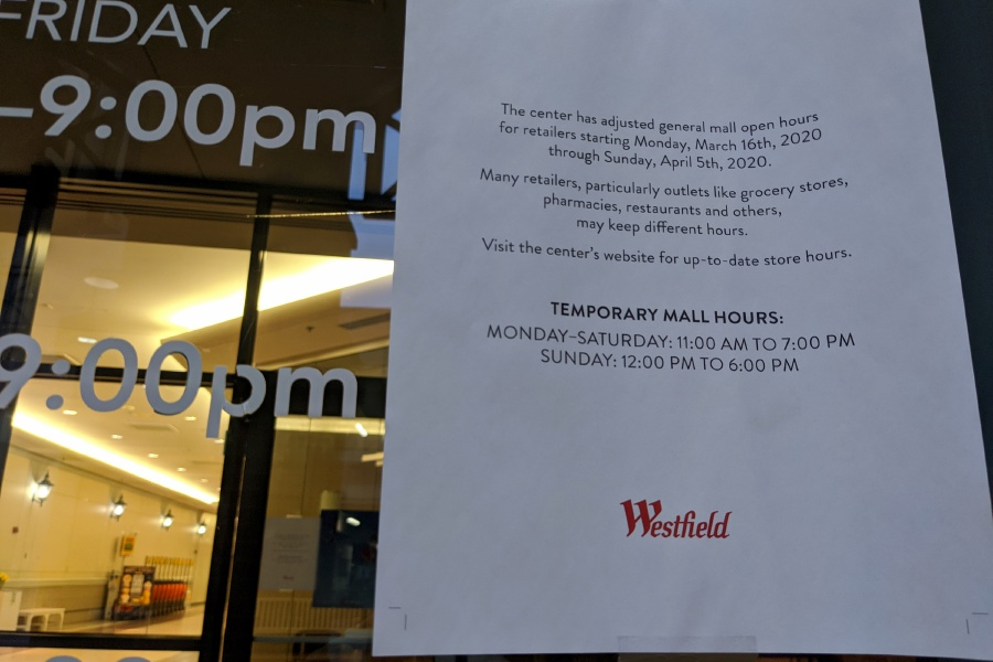 Wesfield Mall will close temporarily Thursday night. The mall had been operating under a modified schedule before Connecticut Gov. Ned Lamont signed an executive order Wednesday ordering malls with large public areas and other businesses of public amusement to close until April 30.