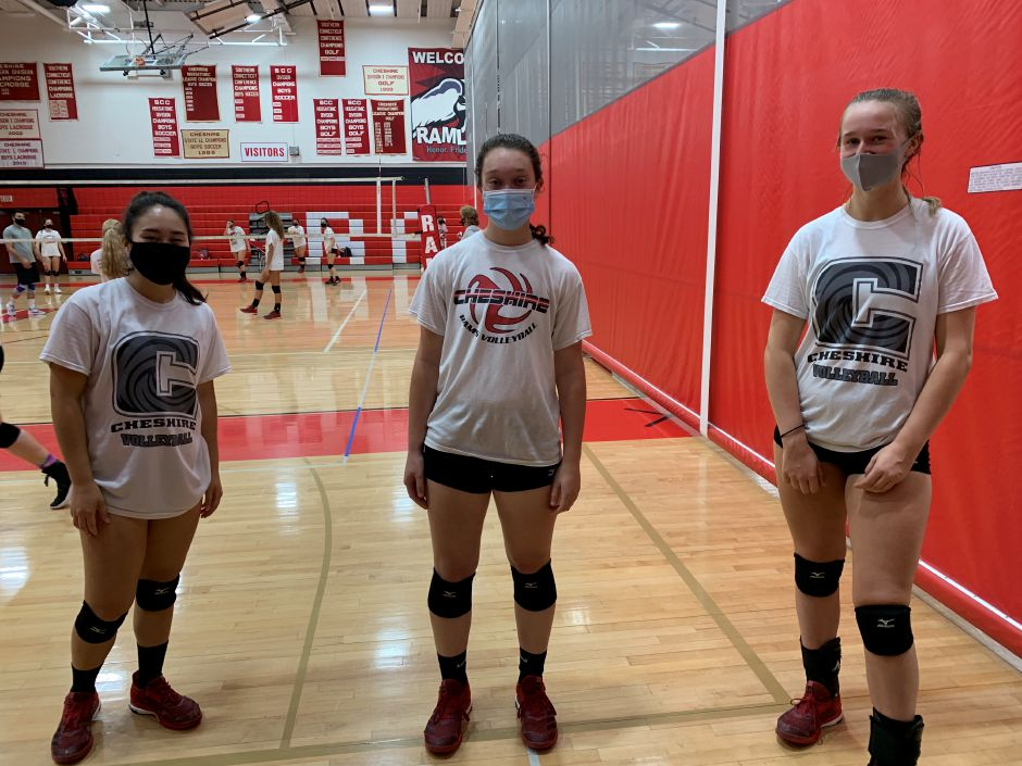 From left, seniors Danielle Hersh, Hannah Portal, and Alenna Zebarth co-captained CHS girls' volleyball to an 11-1 record in the regular season. Photo taken by Greg Lederer/Cheshire Herald.