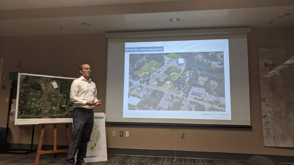 Residents gathered in the Cheshire Public Library for two separate public input forums on the use of the former Chapman farm lot, now known as Bartlem Park South, Monday.